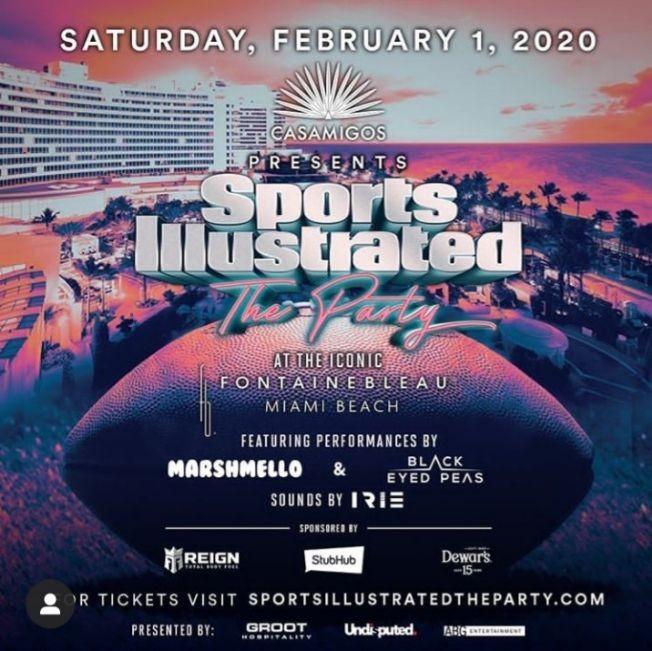 Flyer for Sports iliustrated The Party Marshmello Da Baby & Black Eye Peas Live At Fontainbleau Miami Beach