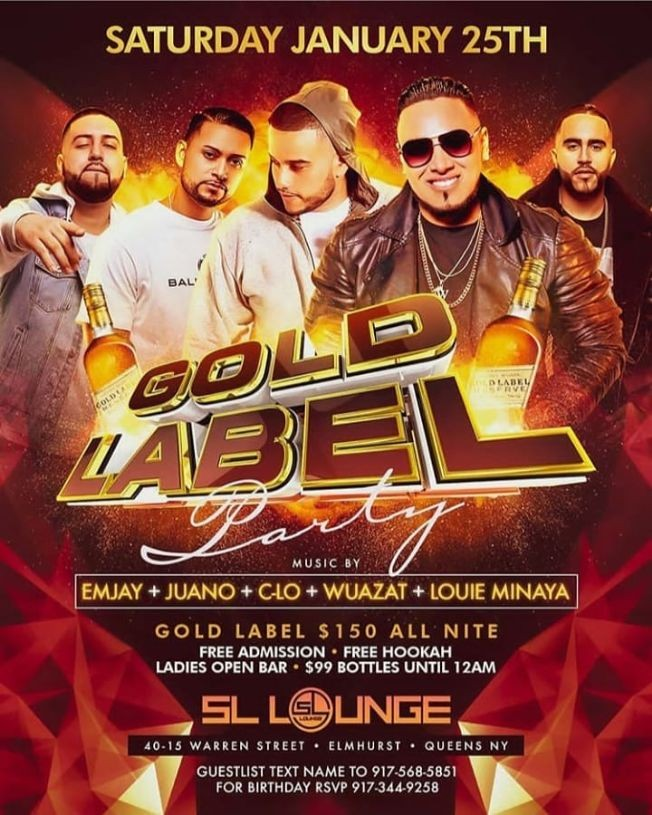 Flyer for Gold Label Party At SL Lounge