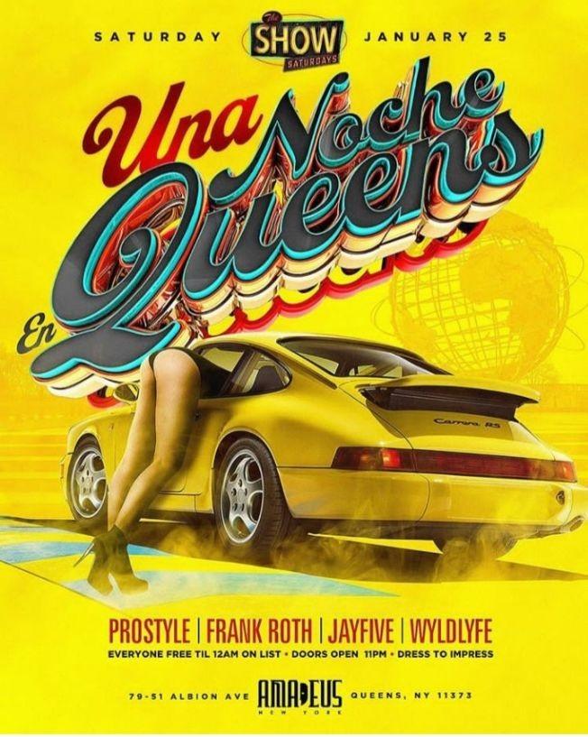 Flyer for Latin Saturdays Una Noche En Queens DJ Prostyle Live At Amadeus Nightclub