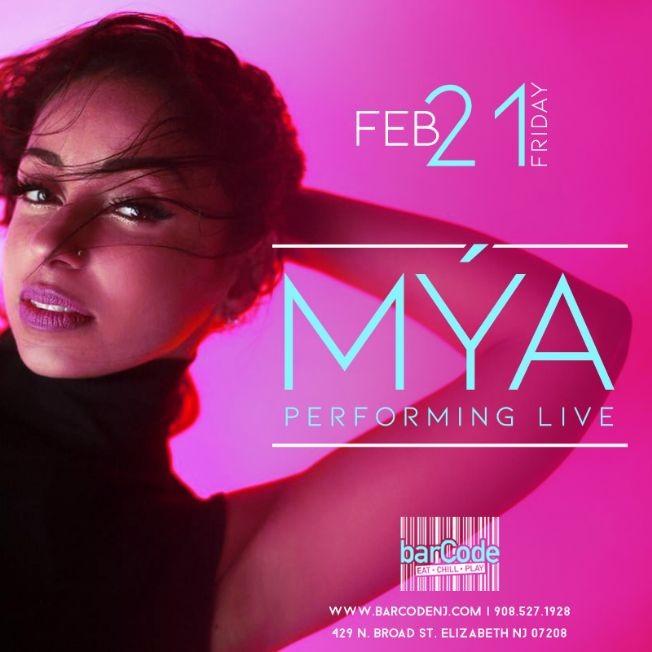 Flyer for MÝA Performing LIVE @barCode NJ Canceled