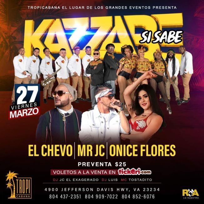Flyer for Kazzabe, Chevo, Mr Jc, Onice - Richmond, VA (Sei Sei Bei, Gira USA)