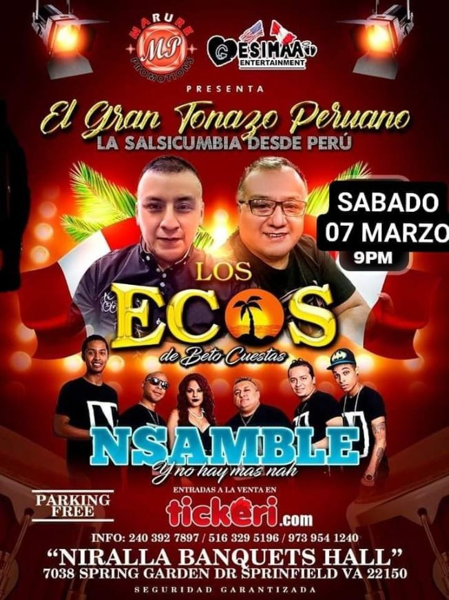 Flyer for SALSA CUMBIA EN VIRGINIA CON NSAMBLE Y LOS ECOS
