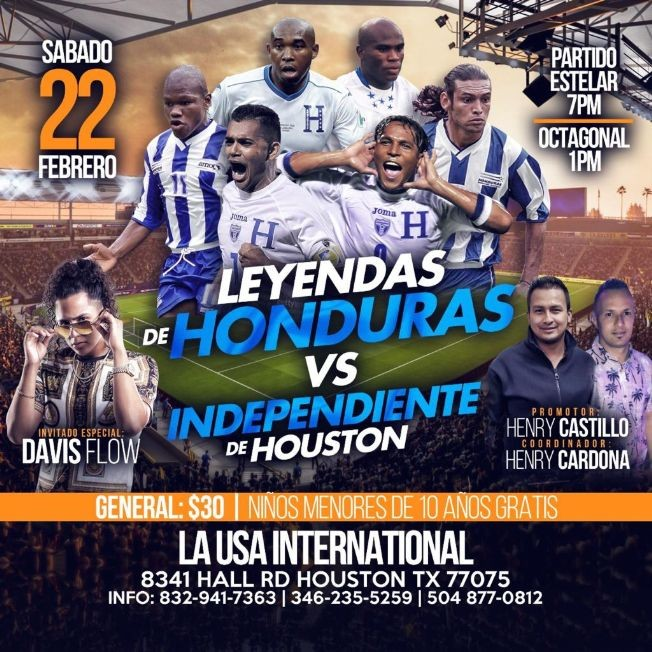 Flyer for Leyendas de Honduras vs Independiente de Houston