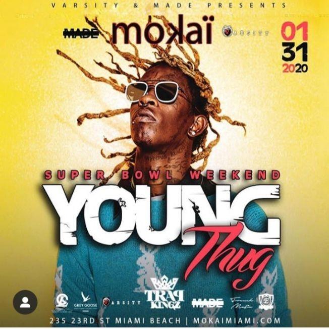 Flyer for Big Game Weekend Kickoff Young Thug Live At Mokai