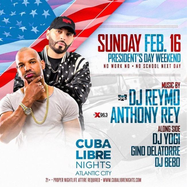 Flyer for Presidents Day Weekend 2020 At Cuba Libre