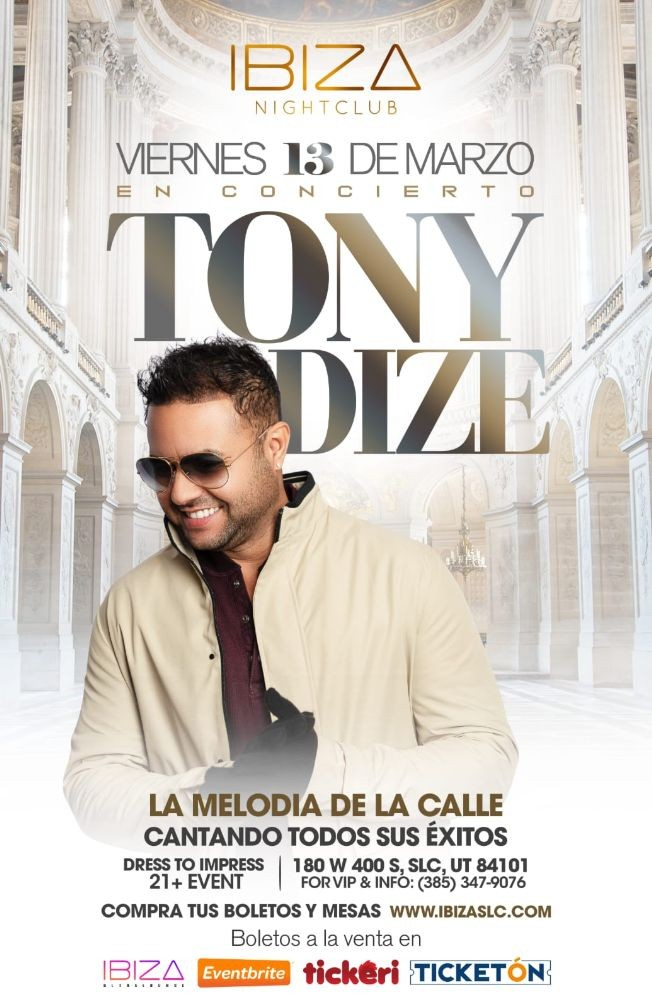 Flyer for Tony Dize en Concierto!