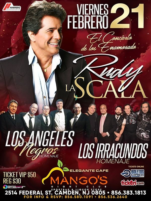 Flyer for Rudy la Scala en Concierto en Mango's Nightclub! CANCELED