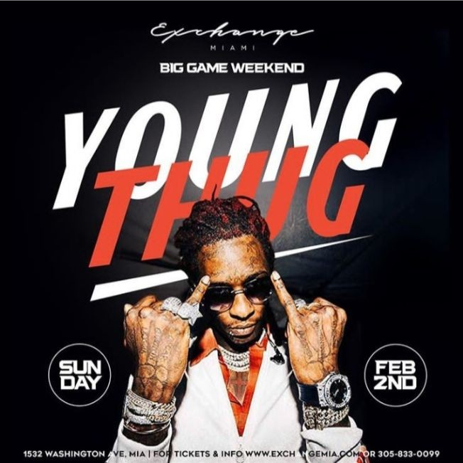 Flyer for Big Game Weekend Young Thug Live At Exchange Miami