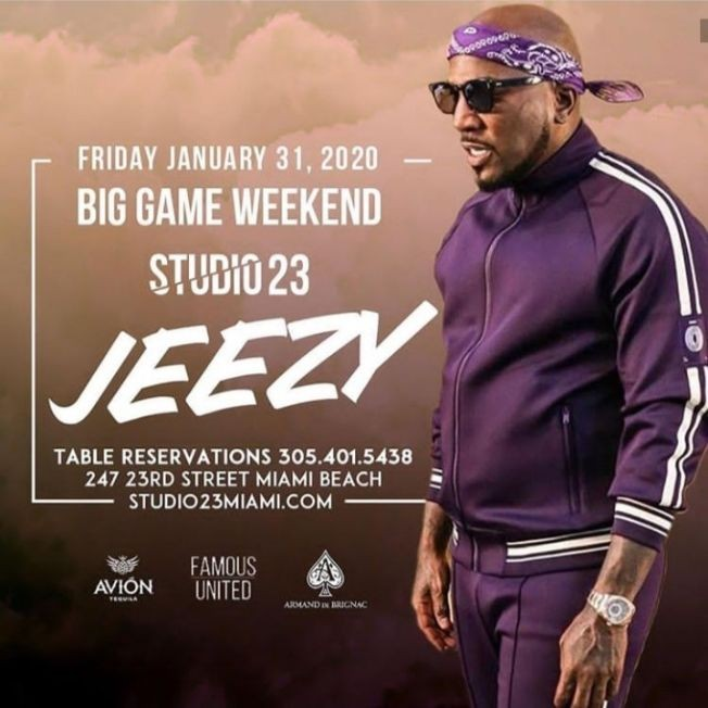 Flyer for Big Game Weekend Young Jeezy Live At Studio 23