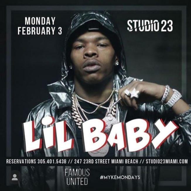 Flyer for Big Game Weekend Finale Lil Baby Live At Studio 23