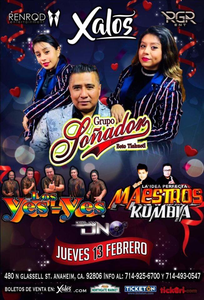 Flyer for Grupo Sonador, Los Yes - Yes, Maestros Kumbia en Concierto en Anaheim,CA