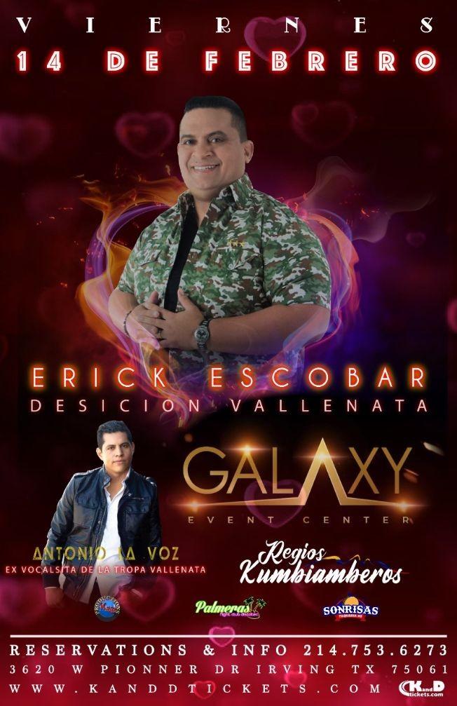 Flyer for Erick Escobar y Su Decision Vallenata en Dallas,TX