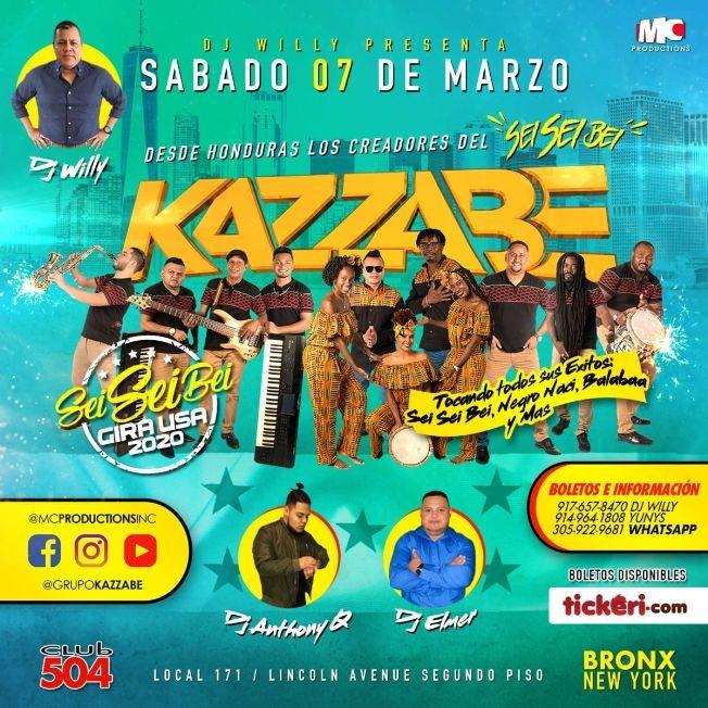 Flyer for Kazzabe - Bronx, NY (Sei Sei Bei, Gira USA)