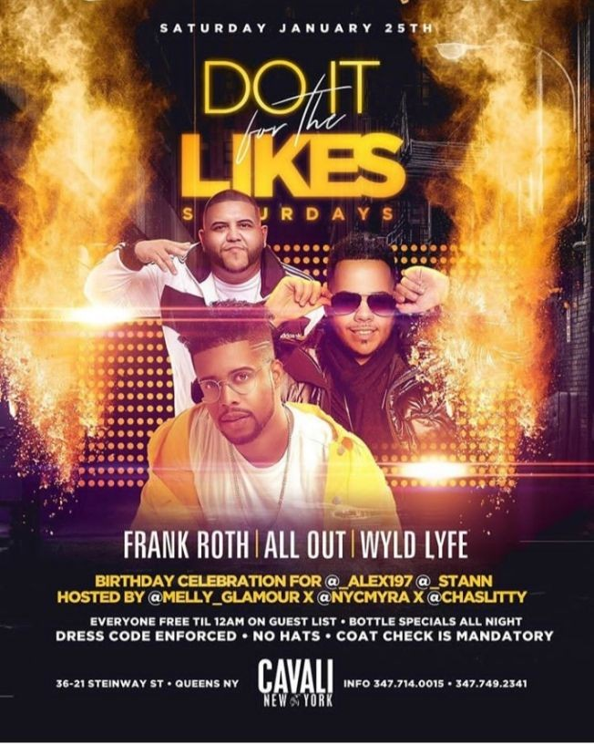 Flyer for Do it For Likes Saturdays At Cavali New York