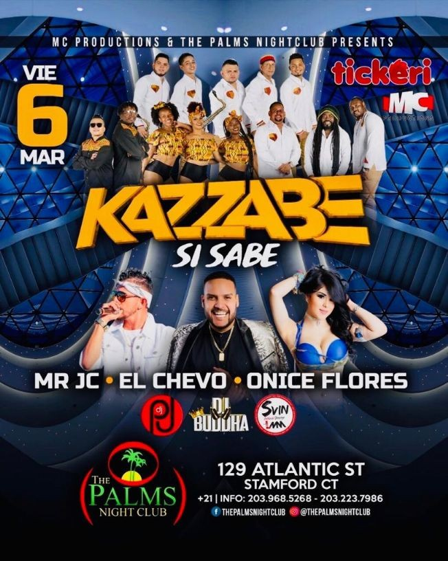 Flyer for Kazzabe, Chevo, Mr Jc, Onice - Stamford, CT (Sei Sei Bei, Gira USA)