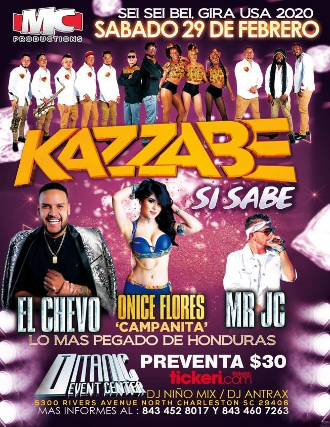 Flyer for Kazzabe, Chevo, Mr Jc, Onice - North Charleston, SC (Sei Sei Bei, Gira USA)