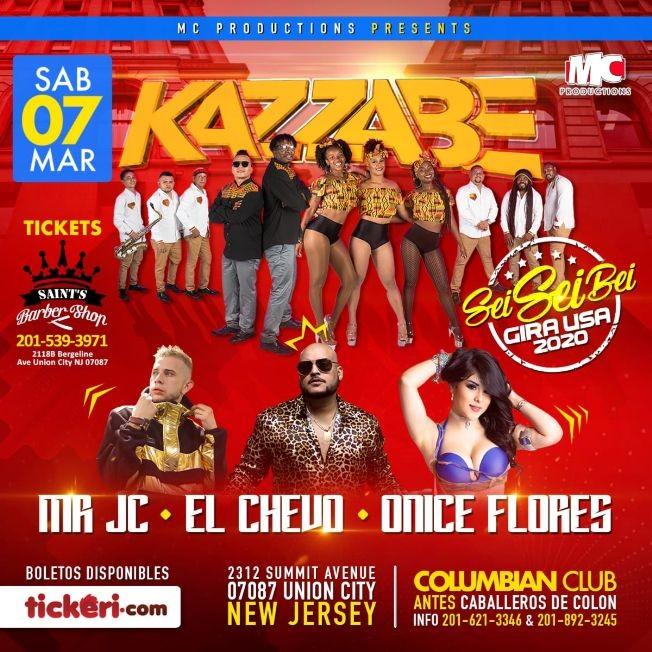 Flyer for Kazzabe, Chevo, Mr Jc, Onice - Union City, NJ (Sei Sei Bei, Gira USA)