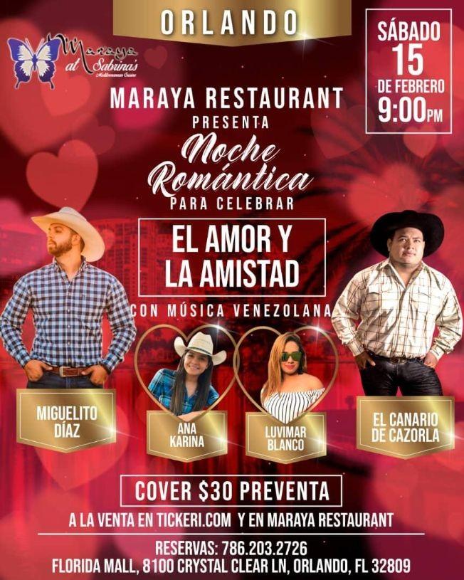 Flyer for Noche Romantica para celebrar El Amor y La Amistad con Miguelito Diaz, El Canario de Cazorla y mas En Orlando,FL