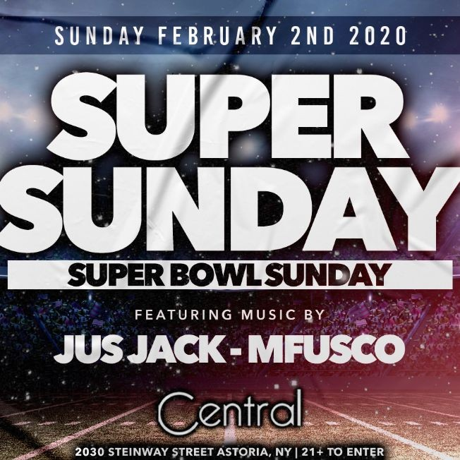 Flyer for CENTRAL LOUNGE SUPERBOWL PARTY 2020