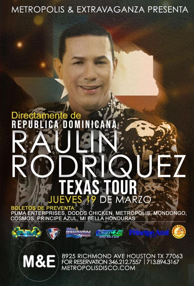 Flyer for RAULIN RODRIGUEZ TEXAS TOUR