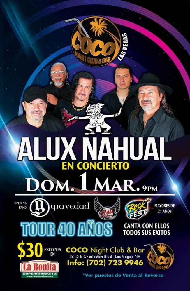 Flyer for Alux Nahual en Las Vegas
