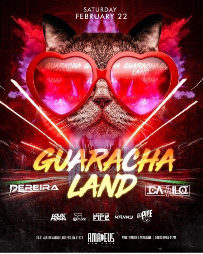 Flyer for Guaracha Land DJ Camilo Live At Amadeus Nightclub