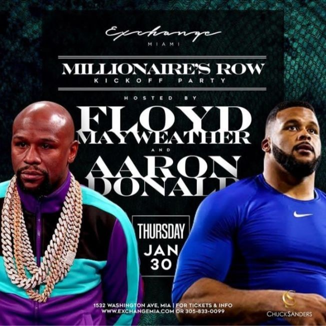 Flyer for Big Game Weekend Kickoff Floyd Mayweather And Aaron Donald Hosting At Exchange Miami