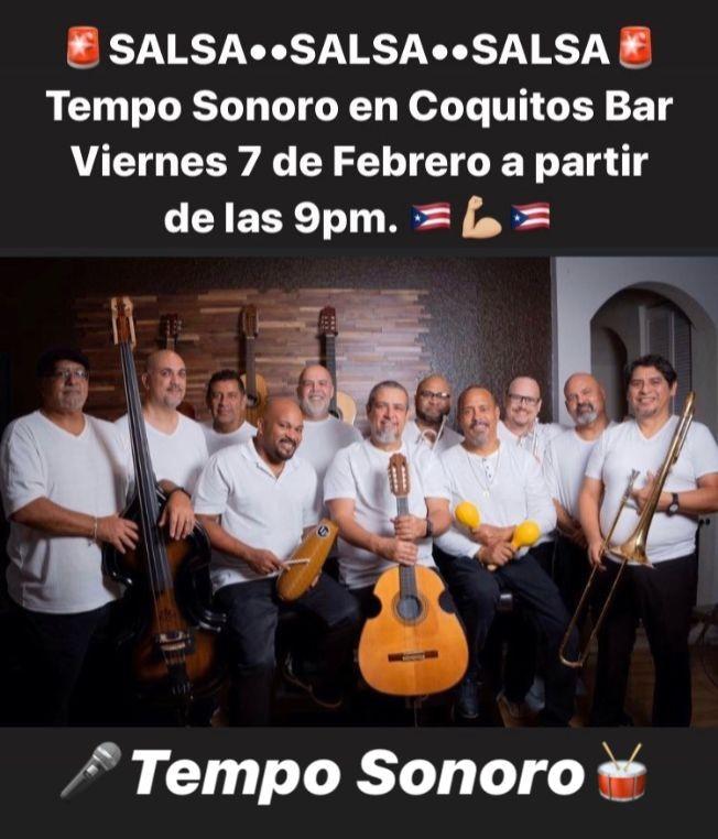 Flyer for Salsa Clásica en Coquitos Bar en Hollywood,FL