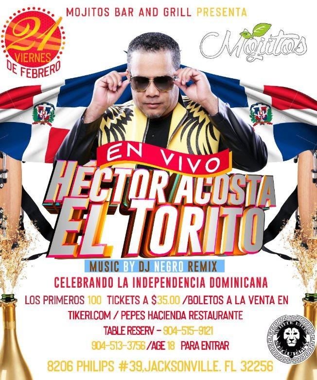 """Flyer for Hector Acosta """"El Torito"""" En Jacksonville,FL"""