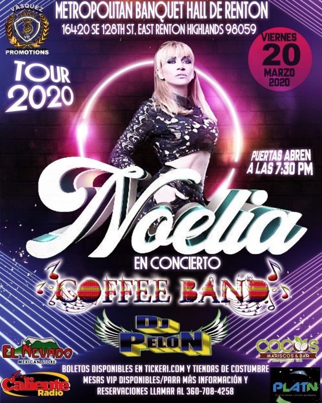 Flyer for Noelia Tour 2020 En Concierto En Renton,WA POSTPONED!