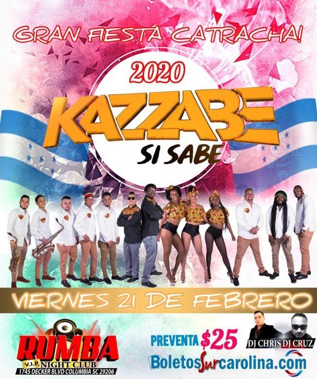 Flyer for Kazzabe - Columbia, SC (Sei Sei Bei, Gira USA)