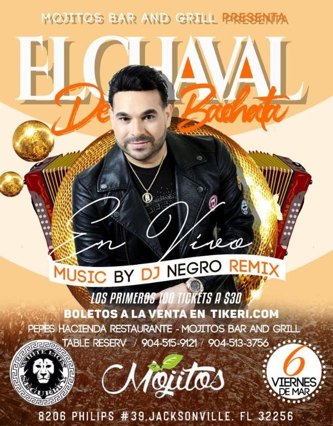 Flyer for El Chaval de La Bachata en Jacksonville,FL
