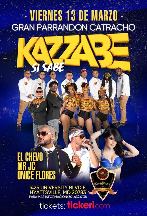 Flyer for Kazzabe, Chevo, Mr Jc, Onice - Hyattsville, MD (Sei Sei Bei, Gira USA)