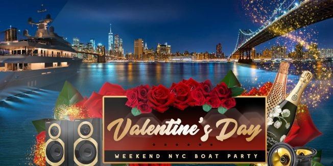 Flyer for VALENTINE'S DAY YACHT PARTY CRUISE  NEW YORK CITY VIEWS  OF STATUE OF LIBERTY,Cocktails & Music