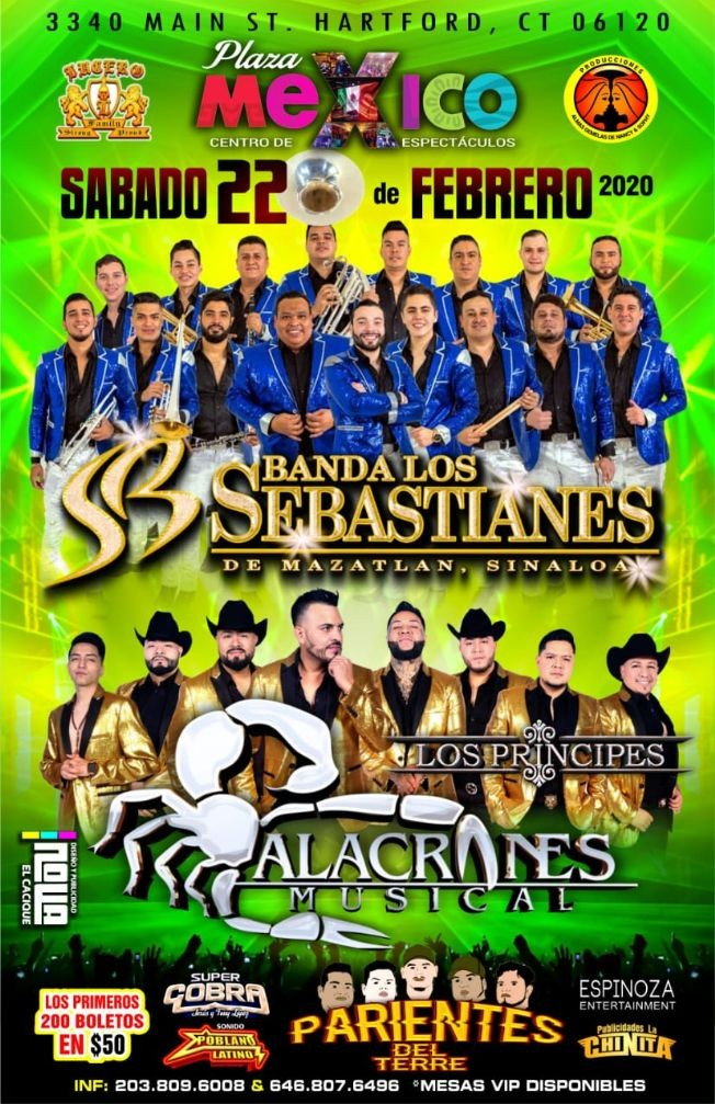 Flyer for Banda Los Sebastianes De Mazatlan Sinaloa En Hartford,CT