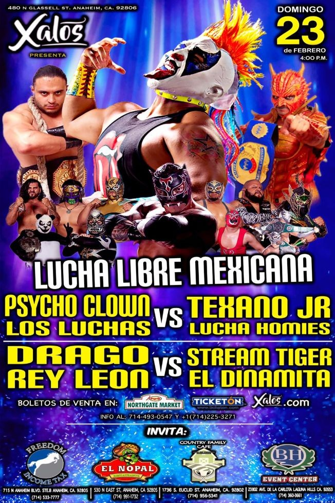 Flyer for Lucha Libre Mexicana En Anaheim,CA