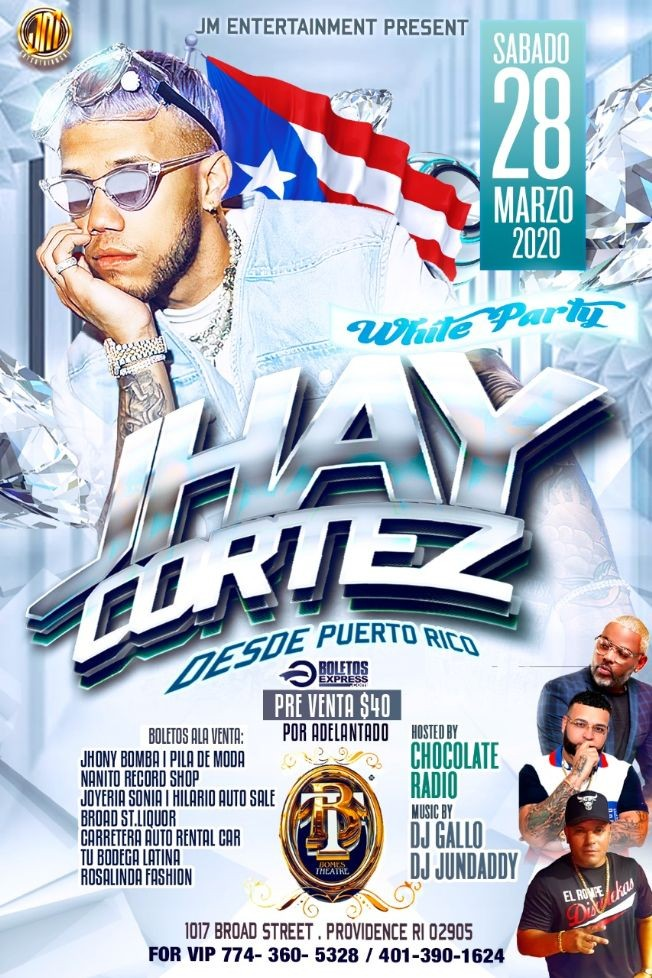 Flyer for POSTPONED: White Party Con Jhay Cortez En Providence,RI NEW DATE CONFIRMED