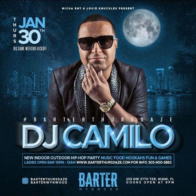 Flyer for Big Game Weekend Kickoff DJ Camilo Live At Barter Wynwood