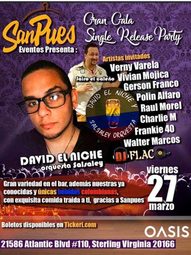 Flyer for Gran Gala Single Release Party con David El Niche Orquesta Salsaley en Vivo! POSTPONED