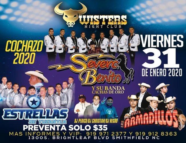 Flyer for SEVERO BENITO Y SU BANDA CACHAS DE ORO Y DUETO LOS ARMADILLOS EN TWISTERS NIGHTCLUB