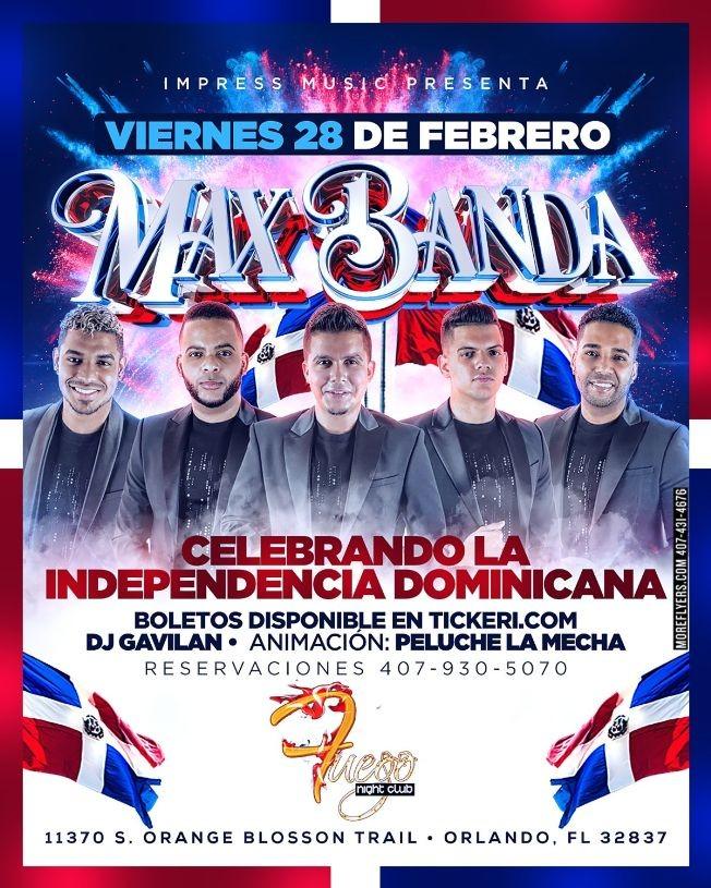 Flyer for Maxbanda @ Fuego Night Club Orlando FL