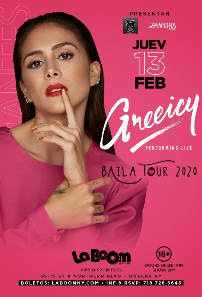 Flyer for GREEICY BAILA TOUR 2020