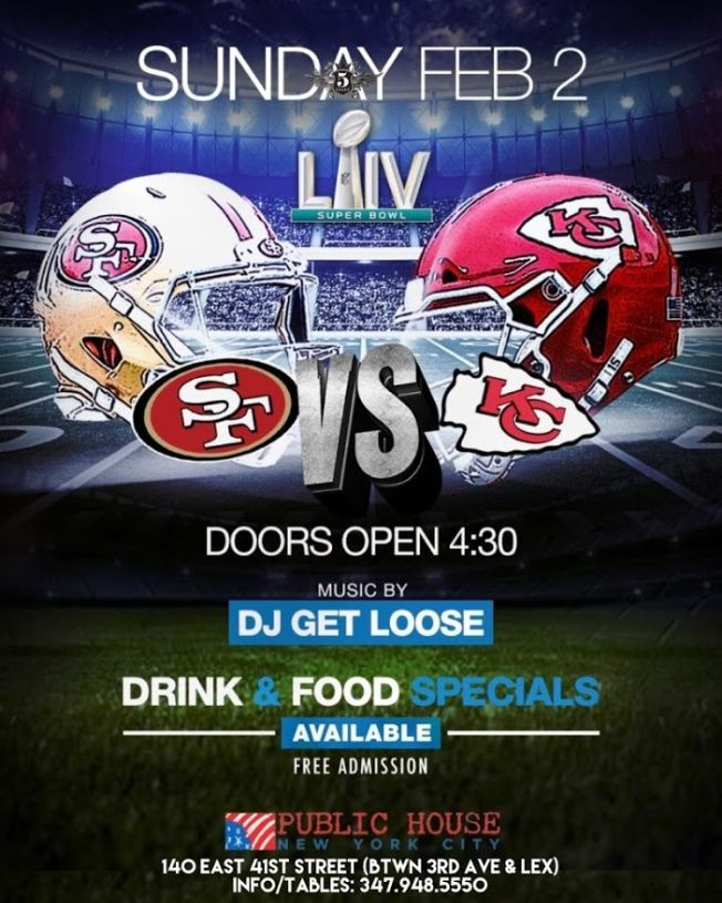 Flyer for Super Bowl Viewing Party at Public House