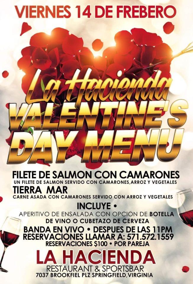 Flyer for La Hacienda Valentine's Day Menu