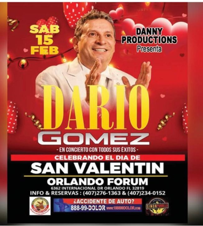 Flyer for Dario Gomez En Concierto En Orlando,FL