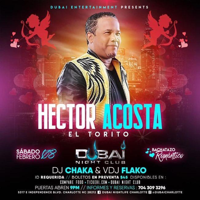 """Flyer for El Torito """"En Concierto"""" Sabado 8 de Febrero 2020 @ Dubai Nightclub"""