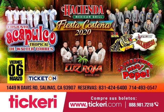 Flyer for Fiesta Costeña 2020 Con Conjunto Acapulco Tropical, Furia Oaxaqueña y Mas En Salinas,CA
