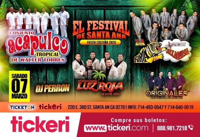 Flyer for Fiesta Costeña 2020 Con La Furia Oaxaqueña y Mas En Santa Ana,CA