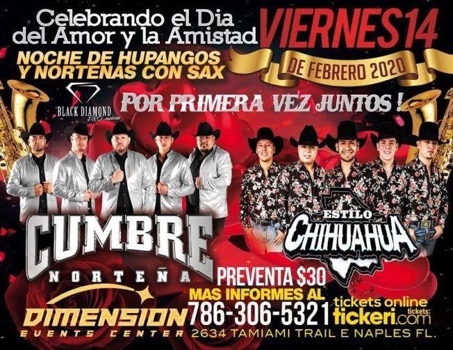 Flyer for Estilo Chihuahua & Cumbre Norteña