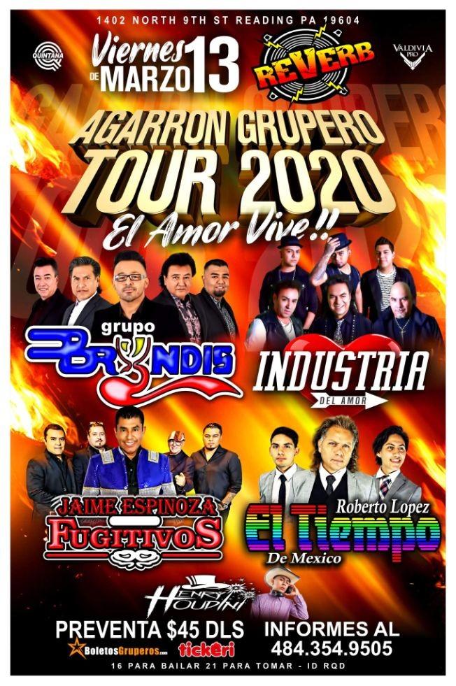 Flyer for Grupo Bryndis, La Industria, Los Fujitivos y El Tiempo